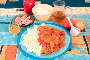 Креветки с рисом и карри