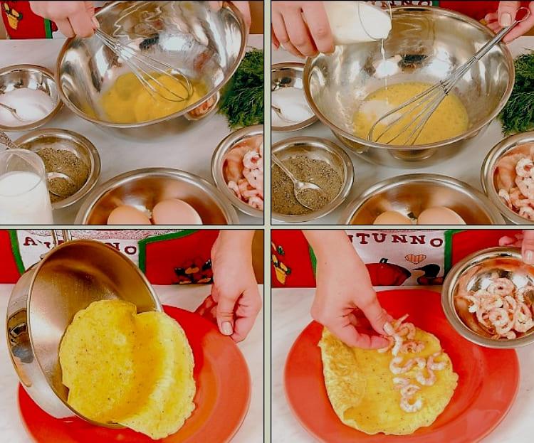 Фото рецепт - Омлет с креветками