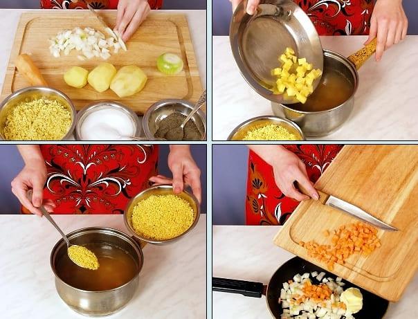 Кулеш суп с картофелем и пшеном на говядине