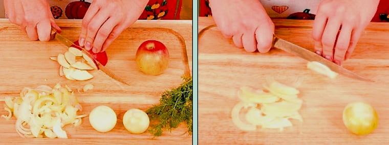 Готовка салата из овощей и яблок
