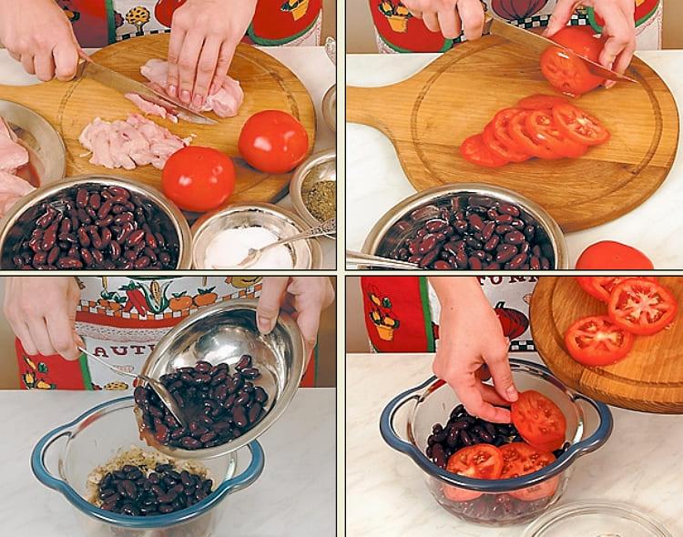Курица с фасолью и помидорами в духовке