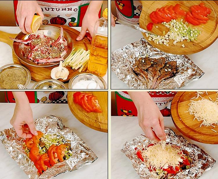 Баранина запеченная в фольге с помидорами и сыром