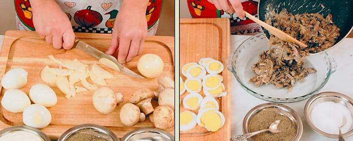 Грибы запеченные с сыром и яйцами