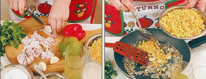 Жареная кукуруза с перцем