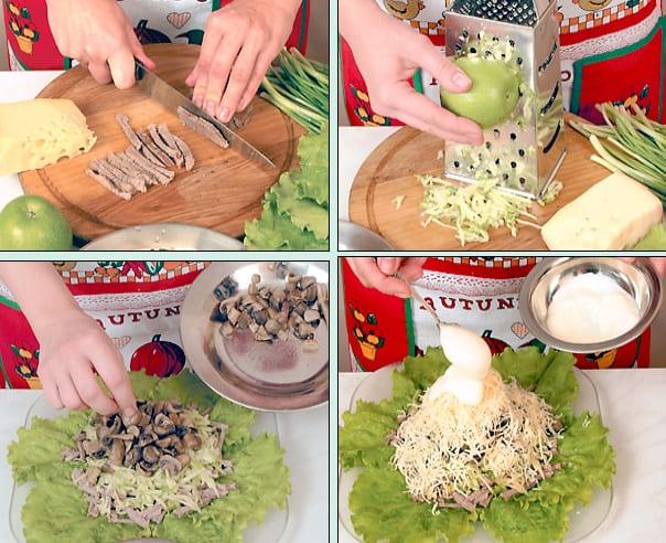 Приготовление слоёного салата с мясом