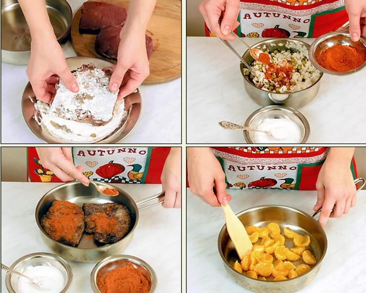 Печень с рисовой кашей, паприкой и мандаринами