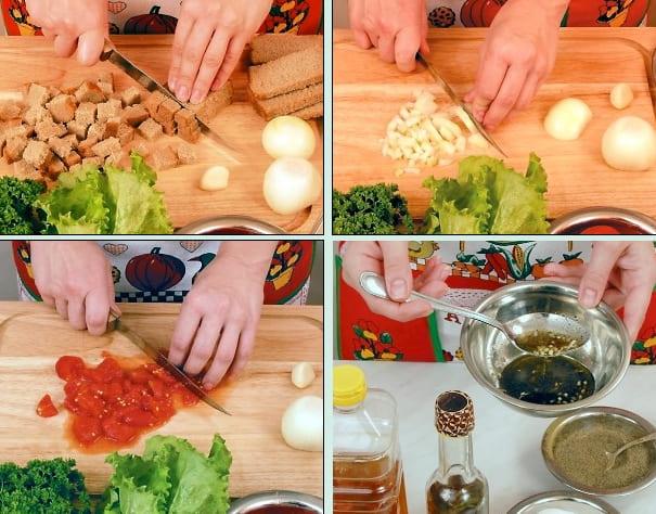 Как приготовить салат Хлебный с помидорами