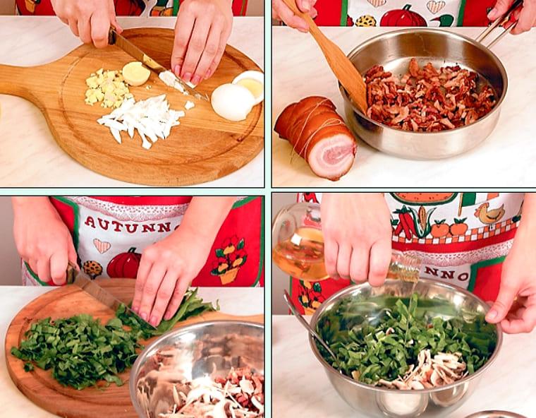 Рецепт салата с беконом и шампиньонами