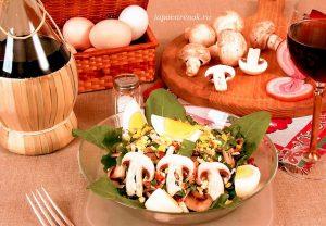 Салат из грибов с беконом