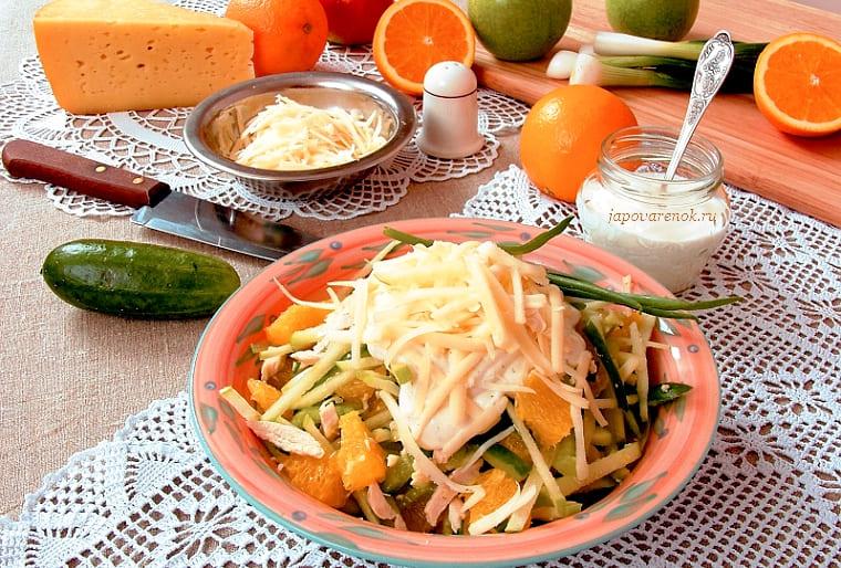 Салат из курицы с апельcинами и огурцами