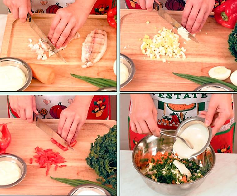 Приготовления салата из сельди и овощей