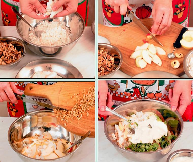 Рецепт салата с рыбой и яблоками
