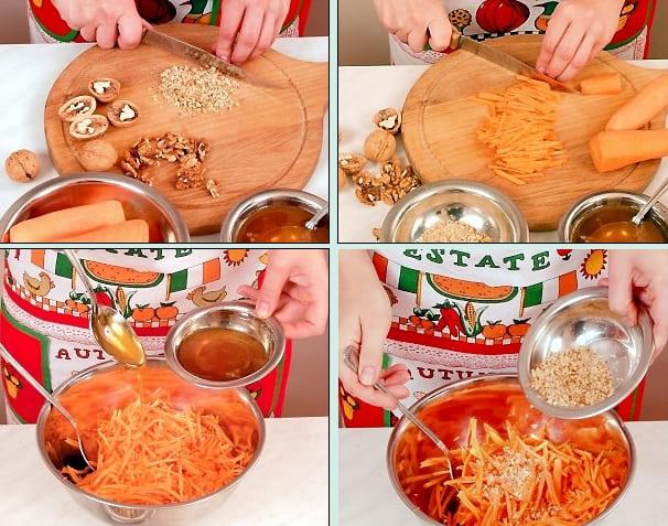 Морковный салат Лакомка с орехами и мёдом