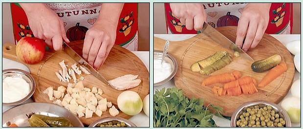 Пошаговый рецепт с фото салат Оливье с курицей