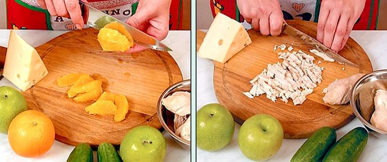 Салат с апельсином и курицей, и сыром