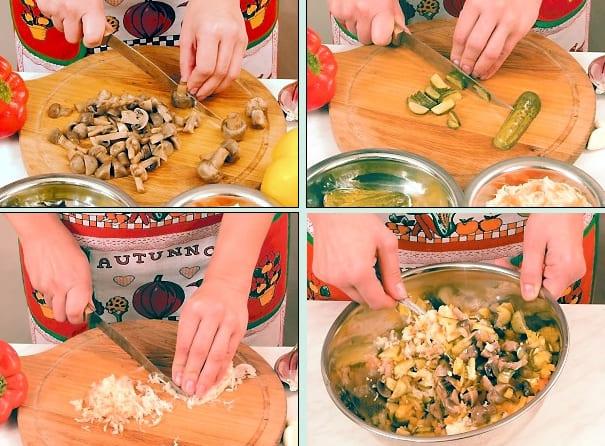 Как приготовить салат Закусочный с грибами