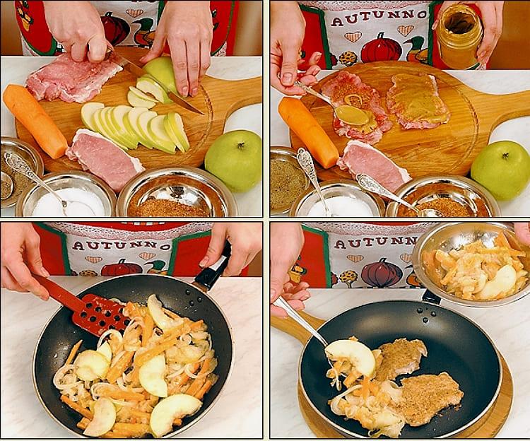 Свинина с тушеными яблоками