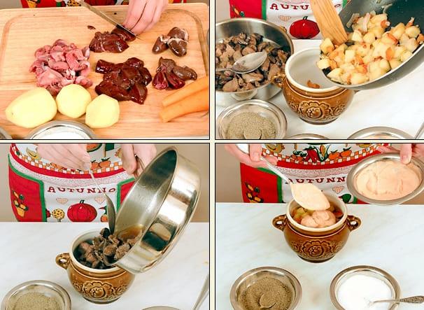 Приготовление в горшочках жаркого с картофелем