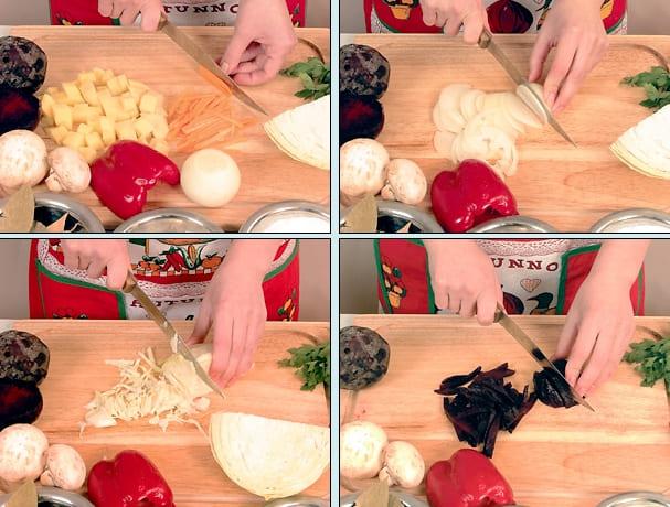 Красный борщ с сушеными грибами и свежей капустой