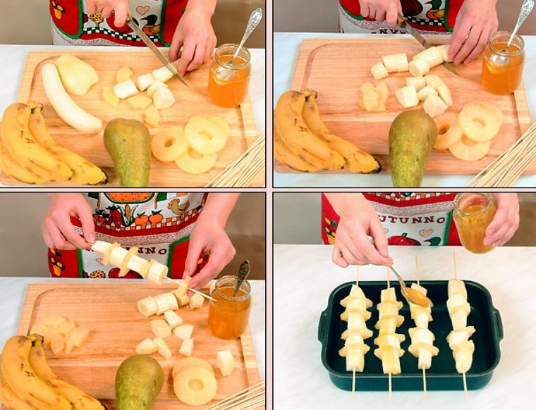 Фруктовые шашлычки с мёдом на шпажках