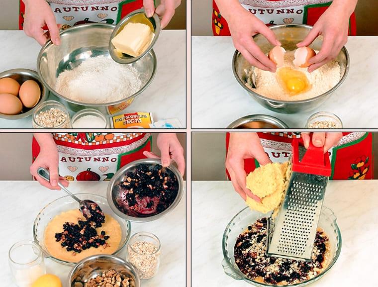 Тертый пирог из овсяных хлопьев с орехами и черникой