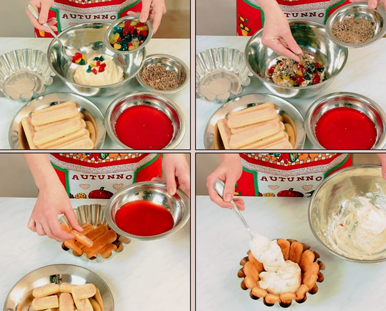 Творожный десерт с цукатами и печеньем