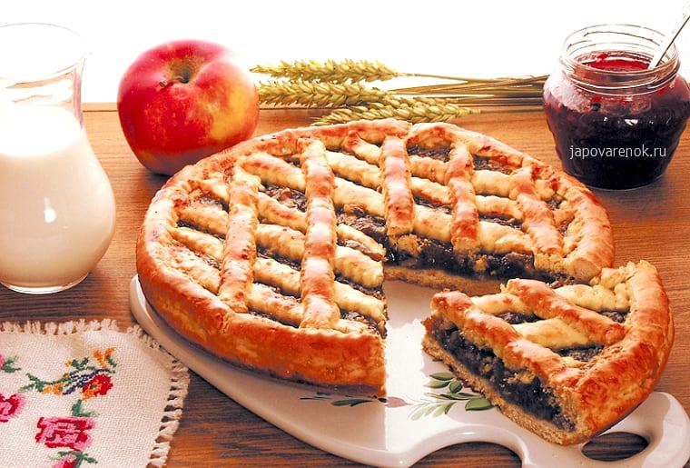 Вкусный открытый пирог с повидлом