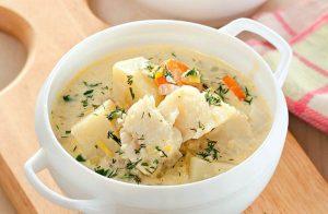 Рыбный суп из трески на молоке