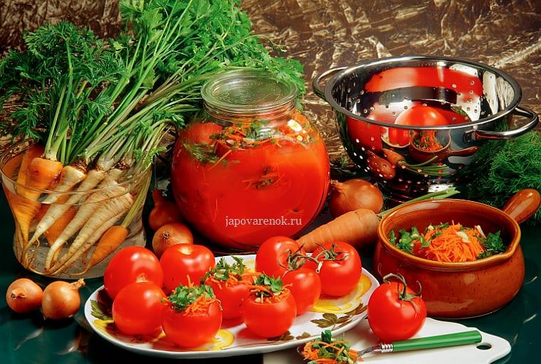 Красные помидоры фаршированные на зиму