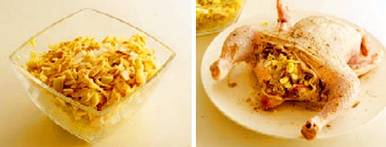 Фаршируем курицу блинами и яйцами
