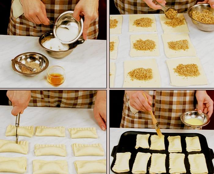 Слоеные пирожки с орехами