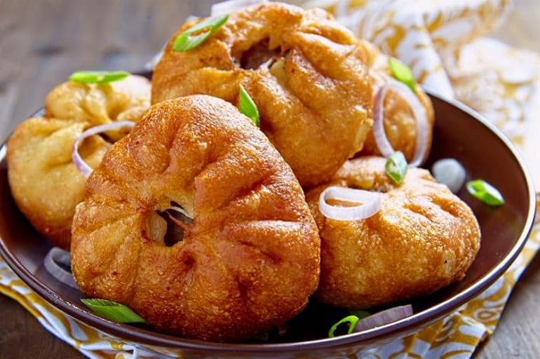 Татарские перемячи с мясом на сковороде