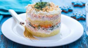 Мимоза салат с консервой и сыром