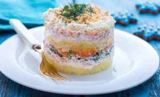 Салат Мимоза с твердым сыром и сливочным маслом
