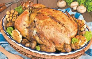 Курица фаршированная грибами в духовке