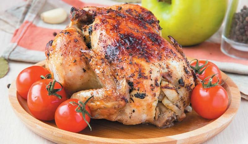Курица фаршированная яблоками в духовке