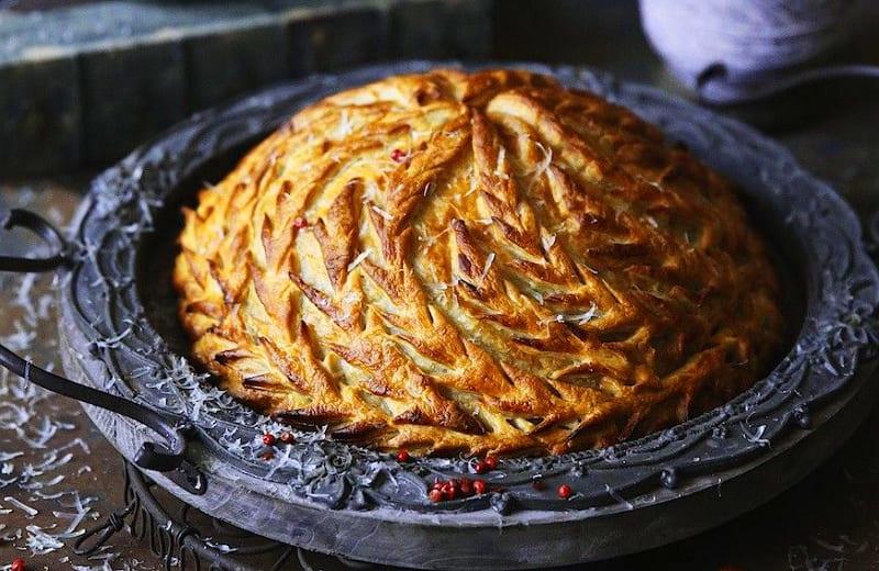 Курник дрожжевой с курицей и картофелем