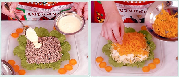 Фото рецепт салата Мимоза с консервой