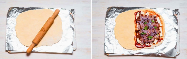 Итальянская закрытая пицца Кальцоне с курицей